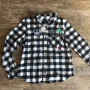 Black & White Flannel with Patches